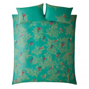 GREEN BIRDS GREEN KING DUVET COVER