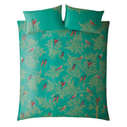 GREEN BIRDS GREEN SUPER KING DUVET COVER