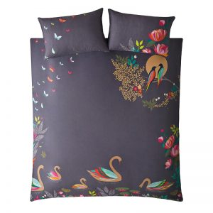 SWAN DARK GREY KING DUVET COVER
