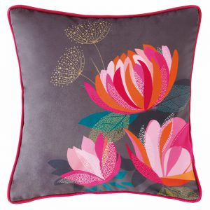 PEONY PETALS DARK GREY CUSHION