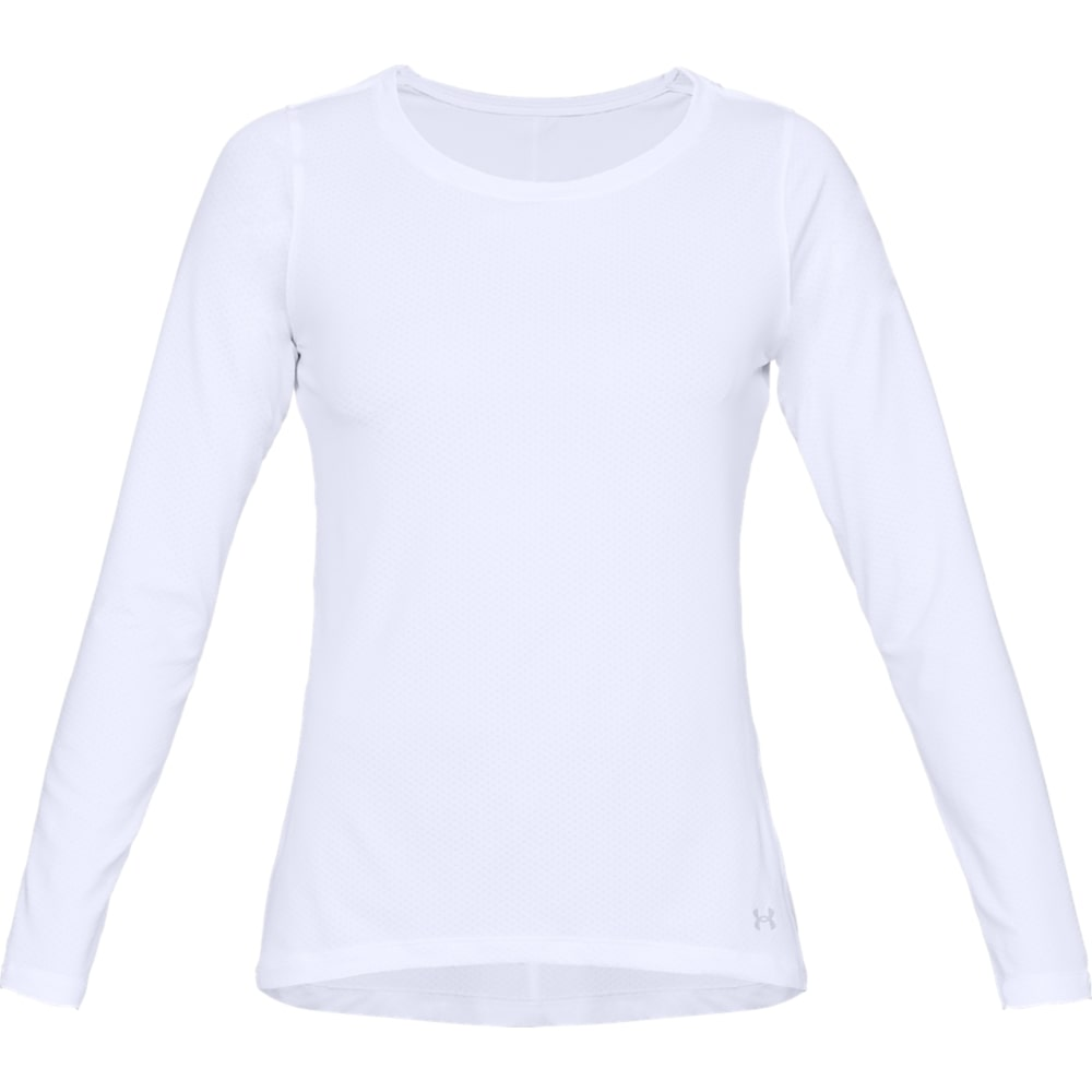 HEATGEAR ARMOUR LONG SLEEVE ROUND NECK TRAINING TOP - WHITE