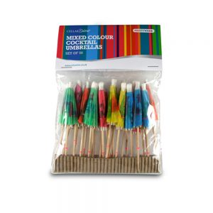 COCKTAIL UMBRELLAS (PACK OF 50) - ASSORTED COLOURS