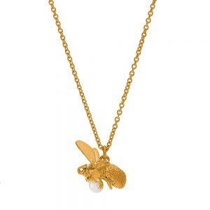 FLYING BEE PEARL NECKLACE GOLD