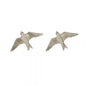 FLYING SWALLOW  STUD EARRINGS SILVER
