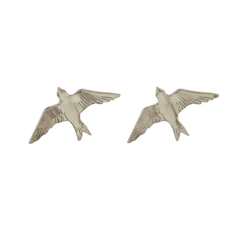 FLYING SWALLOW  STUD EARRINGS SILVER