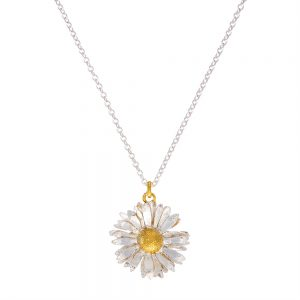BIG DAISY NECKLACE GOLD & SILVER