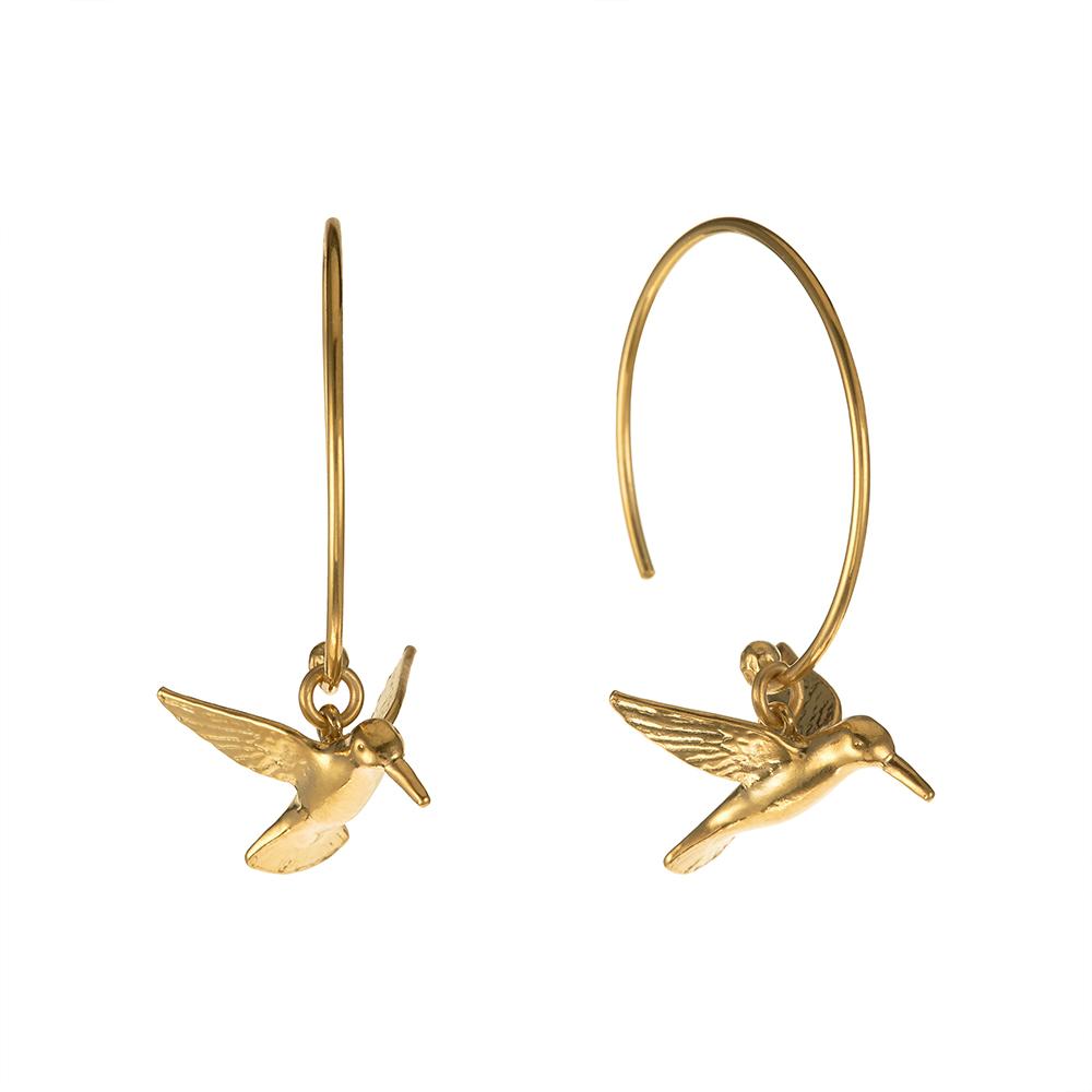 HUMMINGBIRD HOOP EARRINGS GOLD