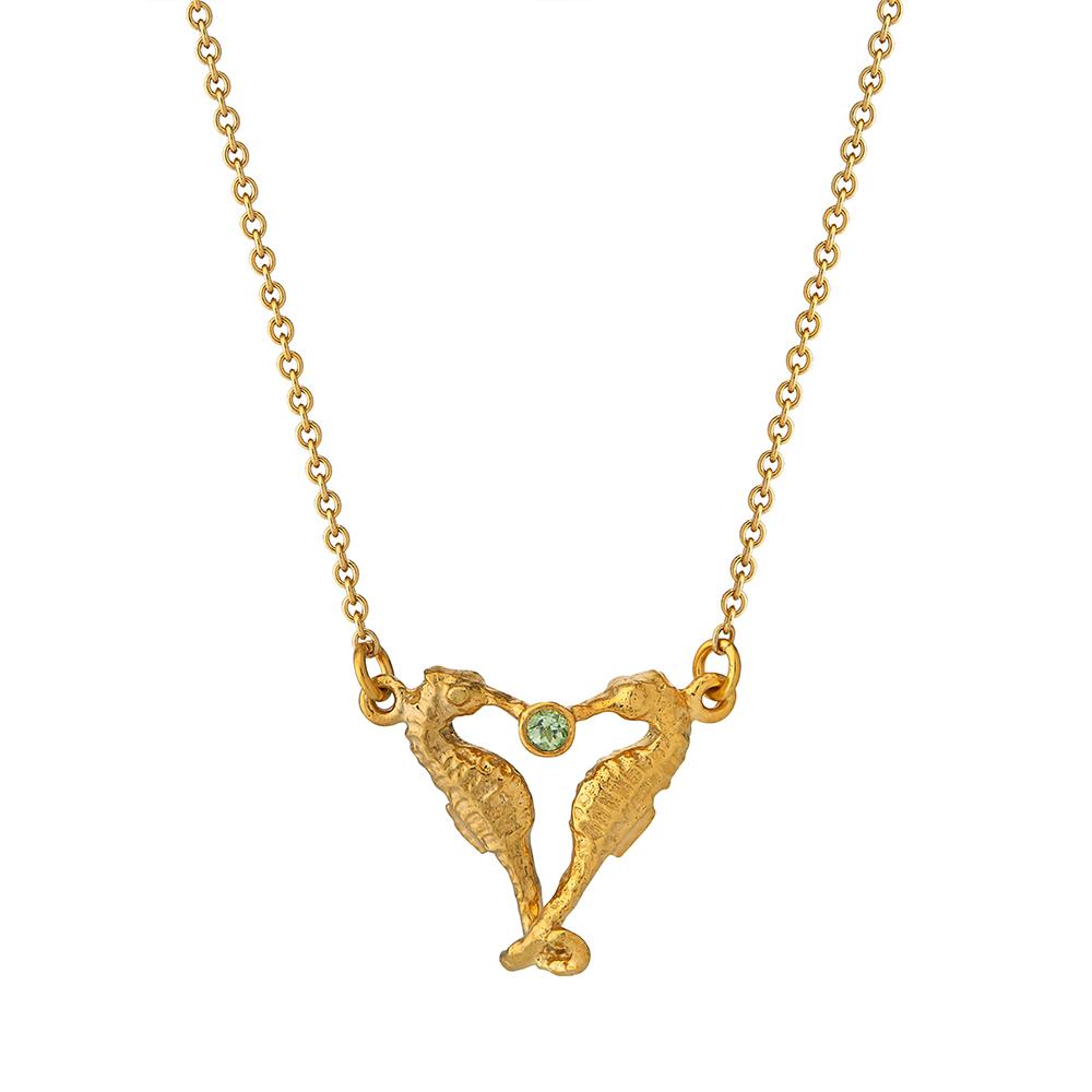 SEAHORSE COMPANION PERIDOT NECKLACE GOLD