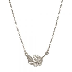 LITTLE FEATHER INLINE NECKLACE SILVER