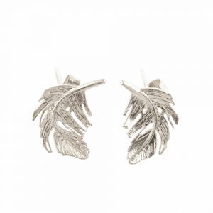 FEATHER STUD EARRINGS SILVER