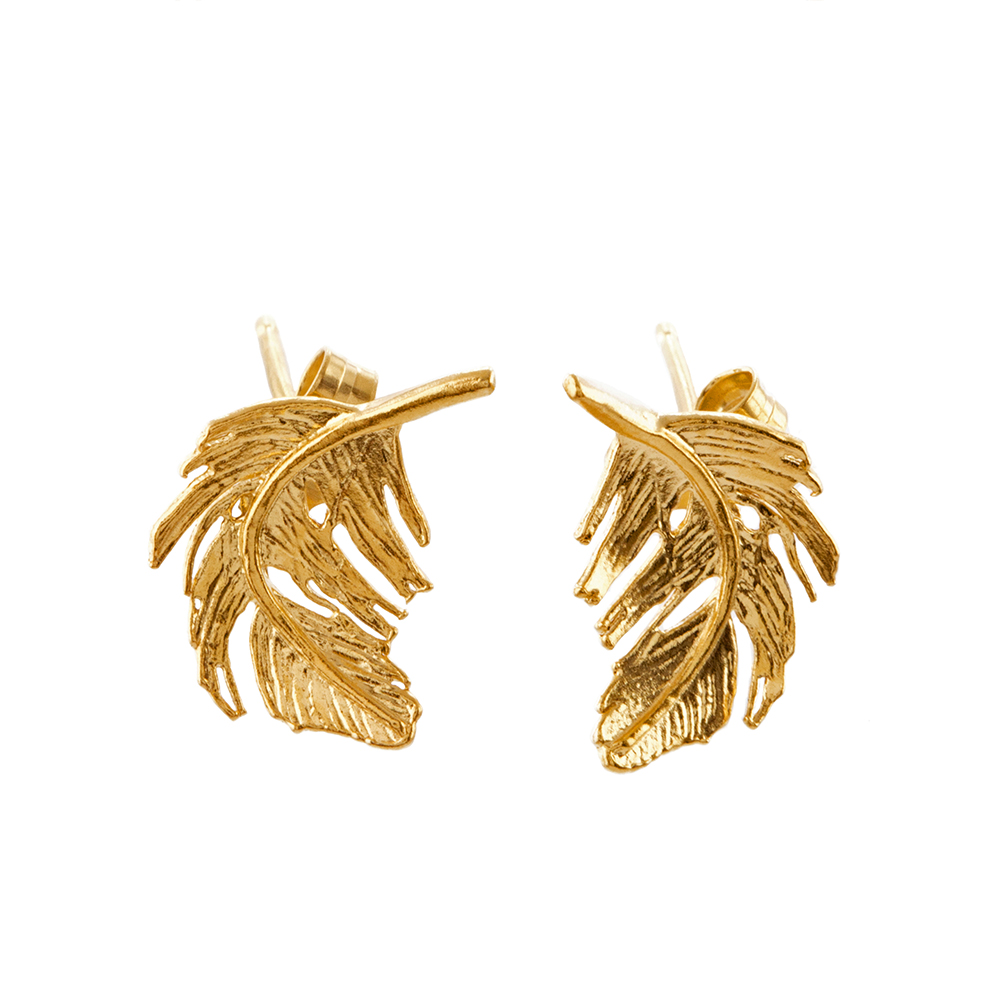 FEATHER STUD EARRINGS GOLD