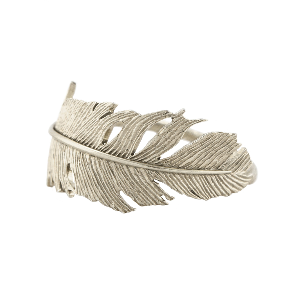WRAPPED FEATHER RING SILVER