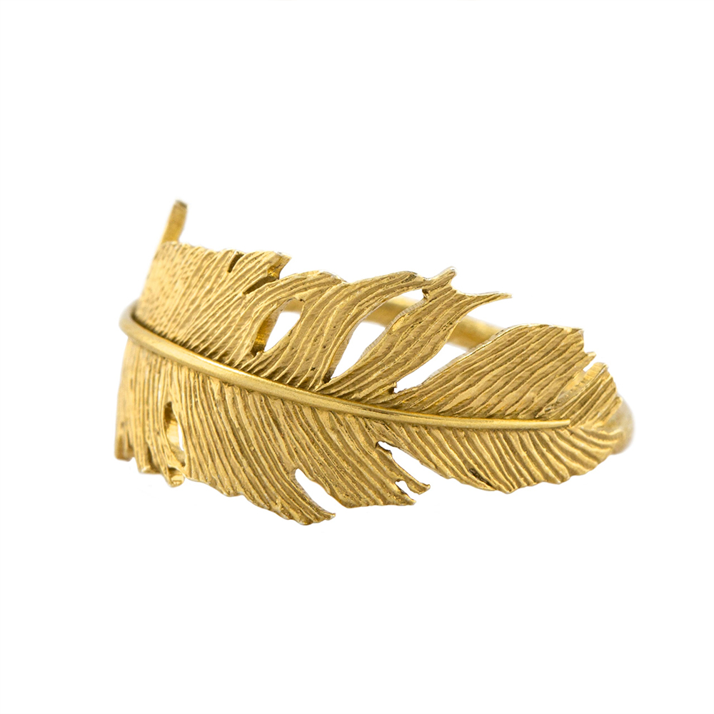 WRAPPED FEATHER RING GOLD