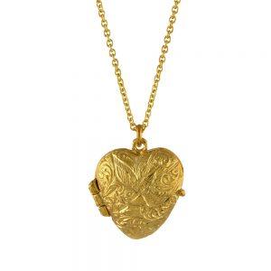 KEEPSAKE HEART LOCKET NECKLACE GOLD
