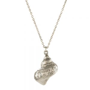 "ENGRAVED SHELL 28"" NECKLACE SILVER"