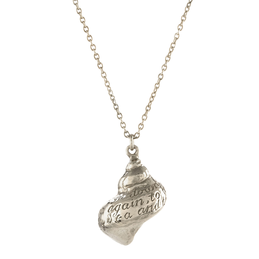 """ENGRAVED SHELL 28"""" NECKLACE SILVER"""