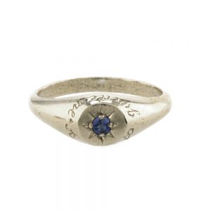 BLUE SAPHIRE SIGNET RING SILVER
