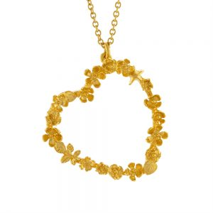 "FLORAL HEART 20"" CHAIN GOLD NECKLACE"