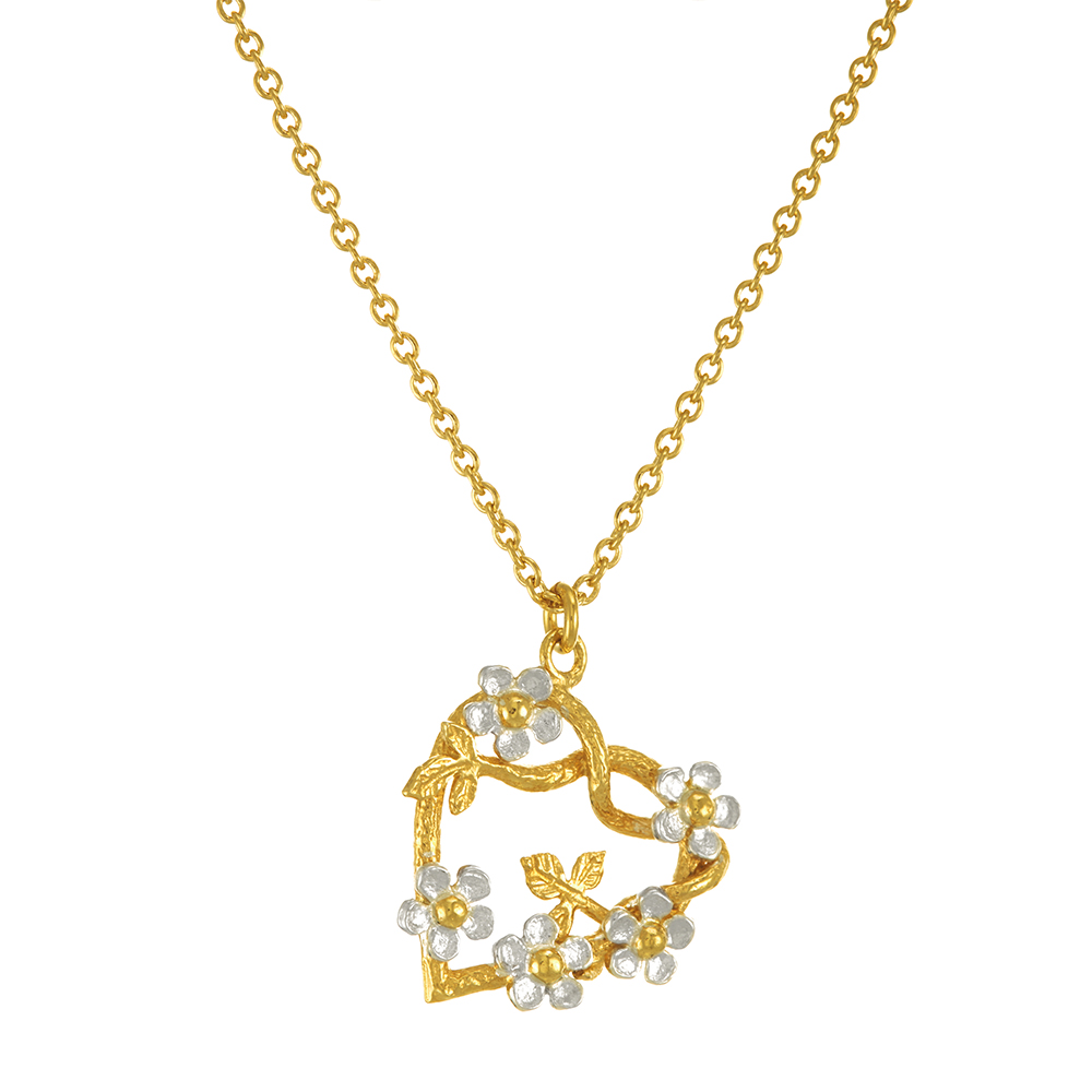 POSY HEART SILVER/GOLD NECKLACE