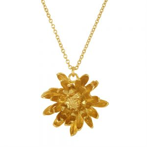 CHRYSANTHEMUM FLOWER GOLD NECKLACE
