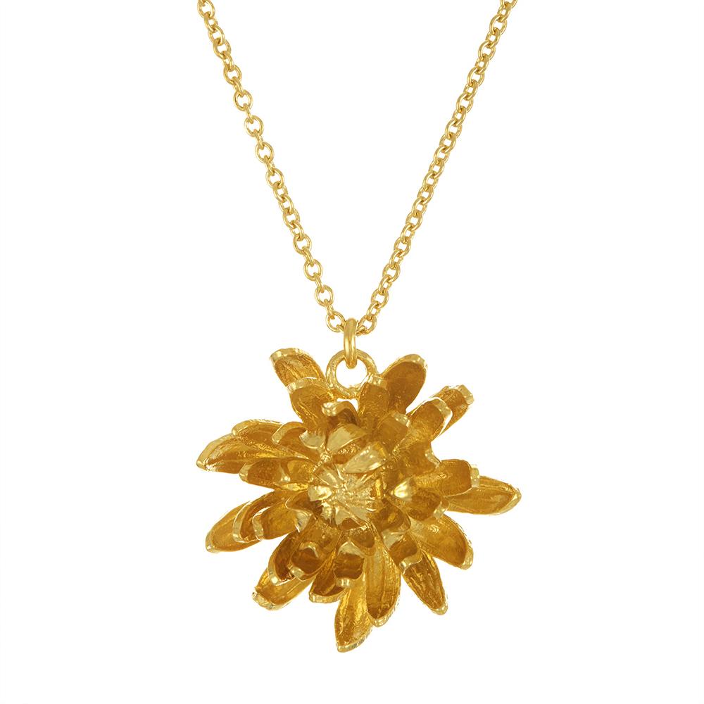 CHRYSANTHEMUM FLOWER GOLD NECKLACE