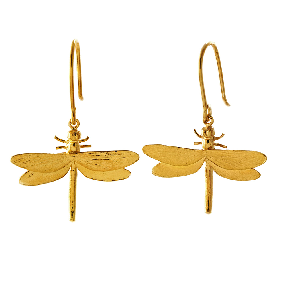 DRAGONFLY HOOK GOLD EARRINGS