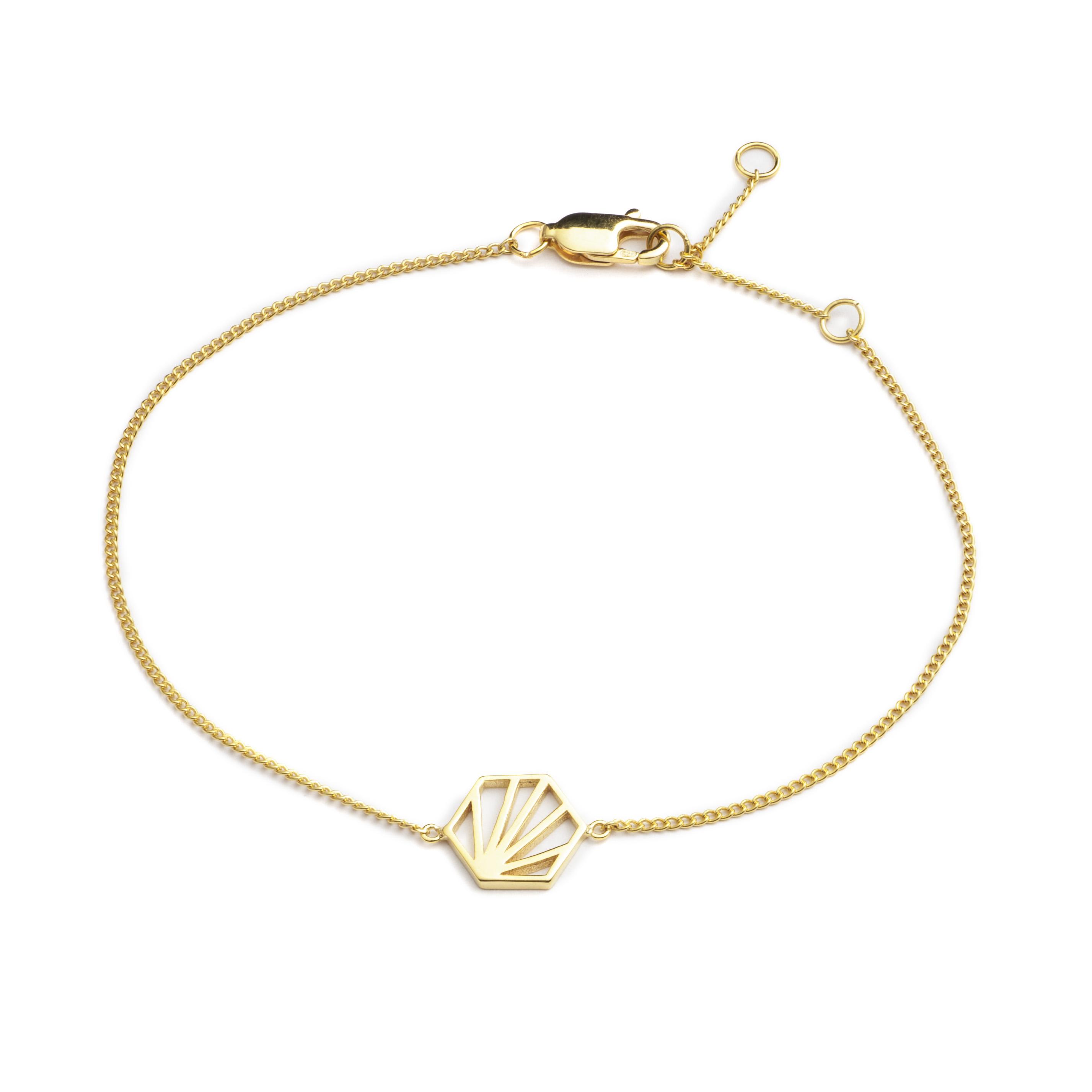 SERENITY HEXAGON CHAIN BRACELET - GOLD