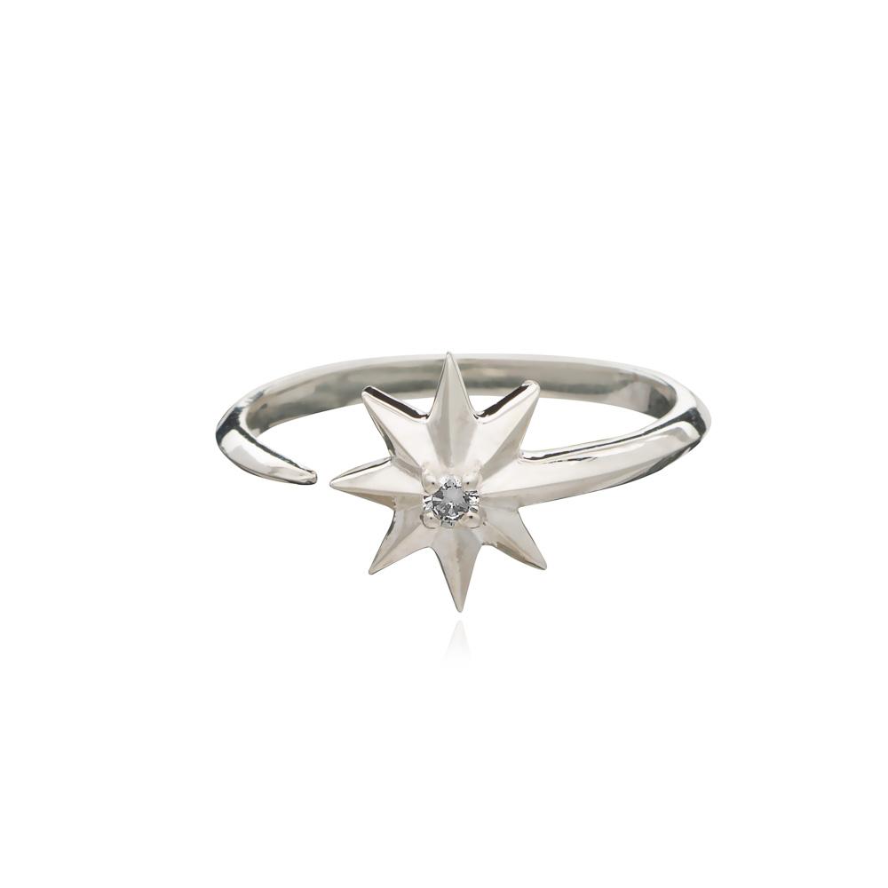 SHOOTING STAR DIAMOND RING - SILVER