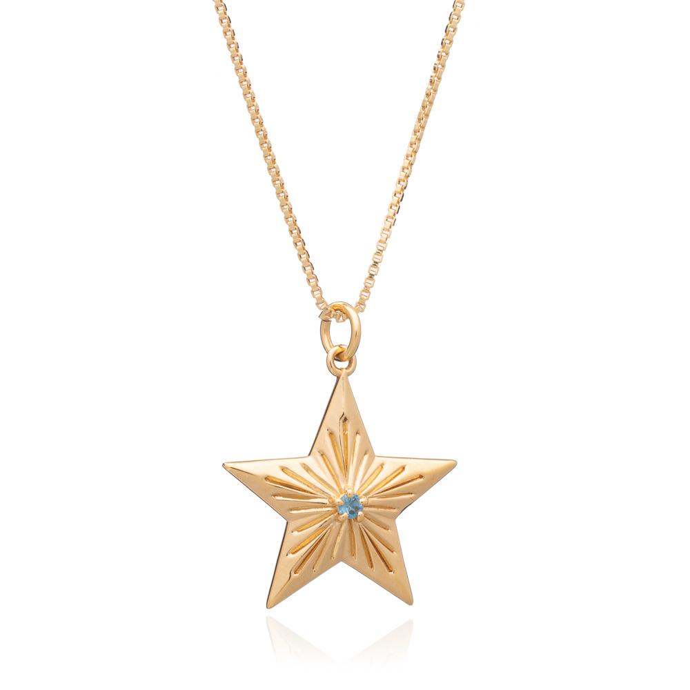 LARGE STAR BLUE TOPAZ NECKLACE - GOLD
