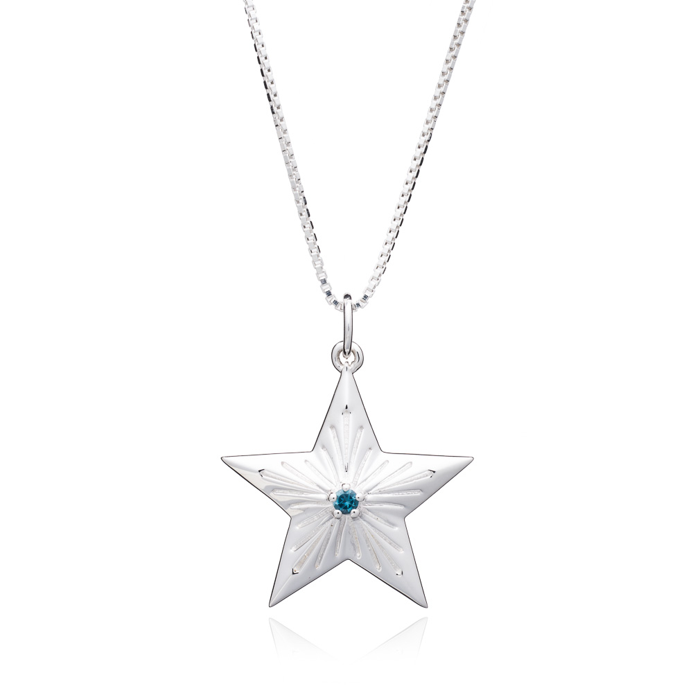 LARGE STAR BLUE TOPAZ NECKLACE - SILVER