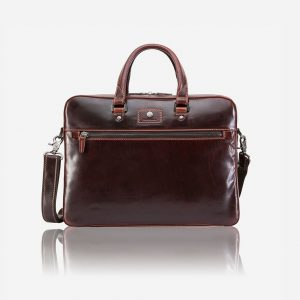 "Oxford Slim Zip Top 15"" Briefcase - Tobacco"