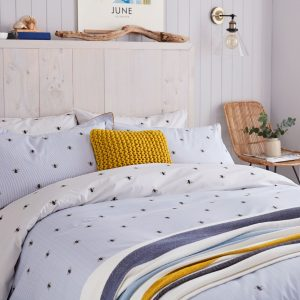 BOTANICAL BEE DUVET COVER KING SIZE - BLUE
