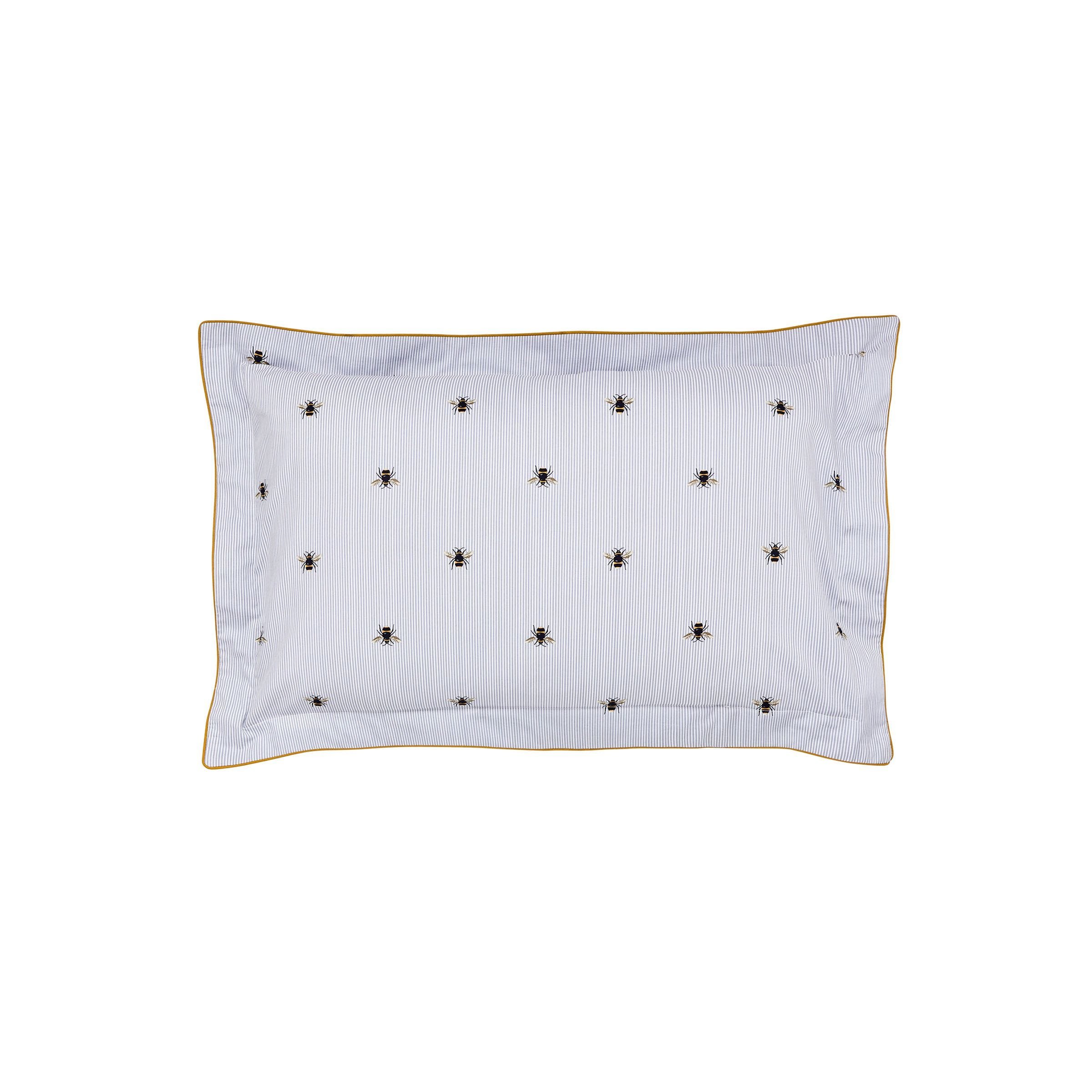 BOTANICAL BEE PILLOW CASE OXFORD - BLUE