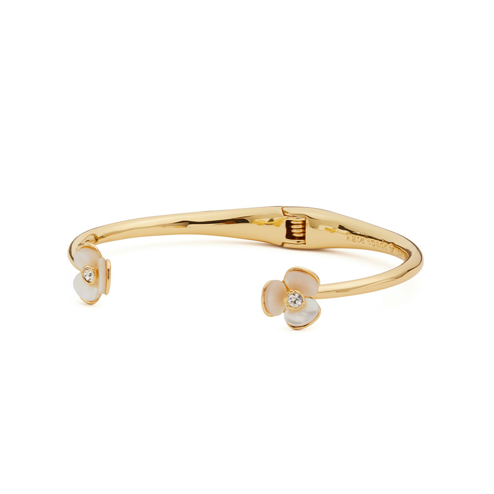 DISCO PANSY FLOWER CUFF BANGLE - GOLD