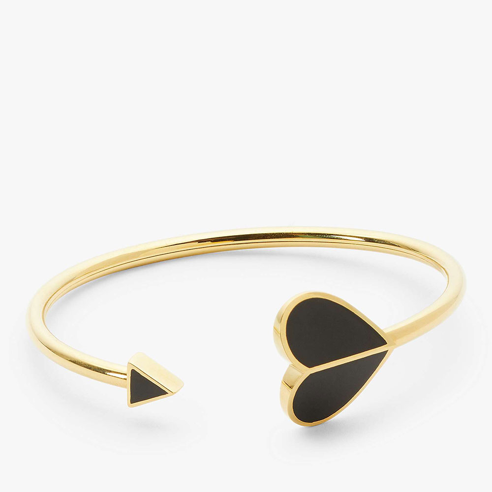HERITAGE SPADE CUFF BLACK BANGLE - GOLD