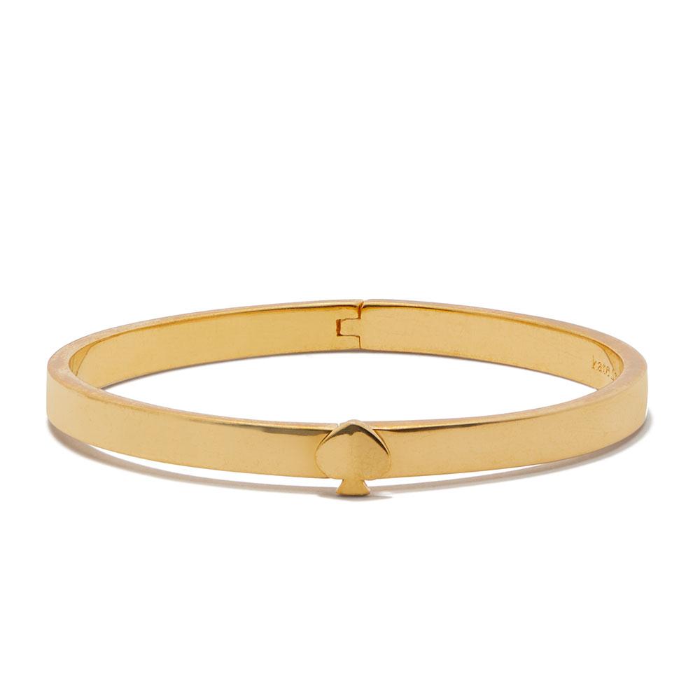 HERITAGE THIN SPADE BUTTON BANGLE - GOLD