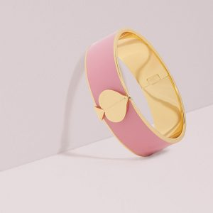 HERITAGE SPADE THICK GOLD BANGLE - PINK