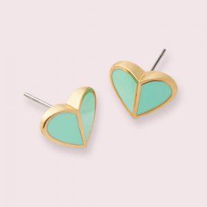 HERITAGE SPADE HEART STUD EARRINGS - BLUE