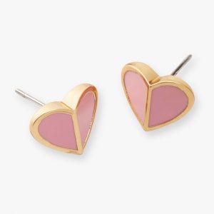 HERITAGE SPADE HEART STUD EARRINGS - PINK