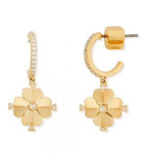 LEGACY LOGO SPADE FLOWER HUGGIE EARRINGS - GOLD