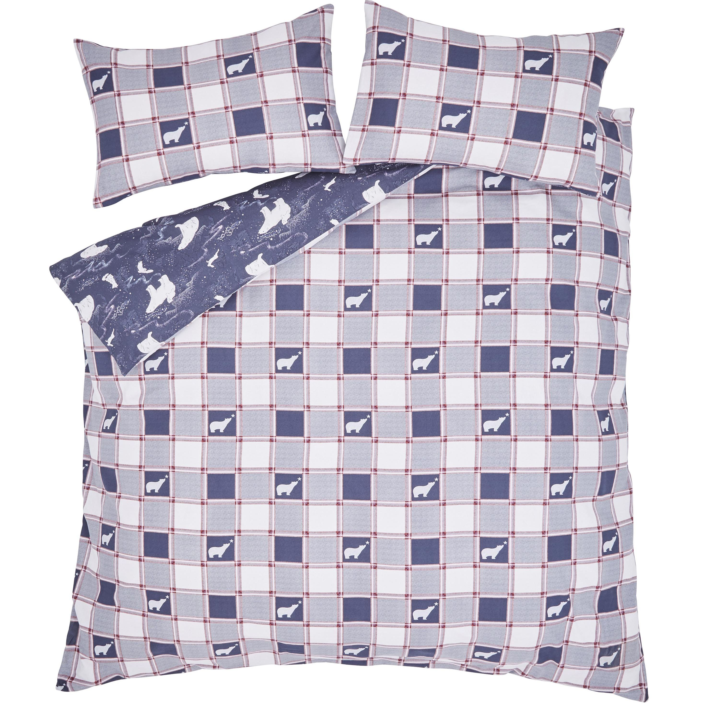 XMAS POLAR BEAR KING QUILT SET - NAVY