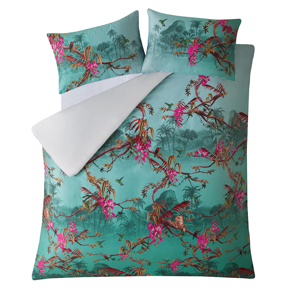 HIBISCUS JADE KING DUVET COVER