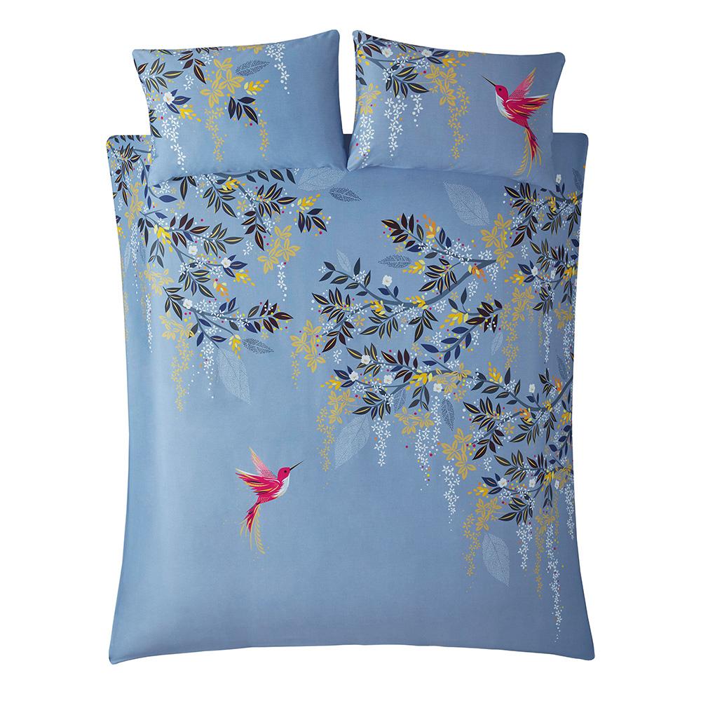 HUMMINGBIRD DOUBLE QUILT SET - LIGHT BLUE