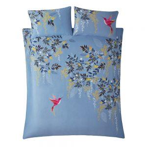 HUMMINGBIRD KING QUILT SET - LIGHT BLUE