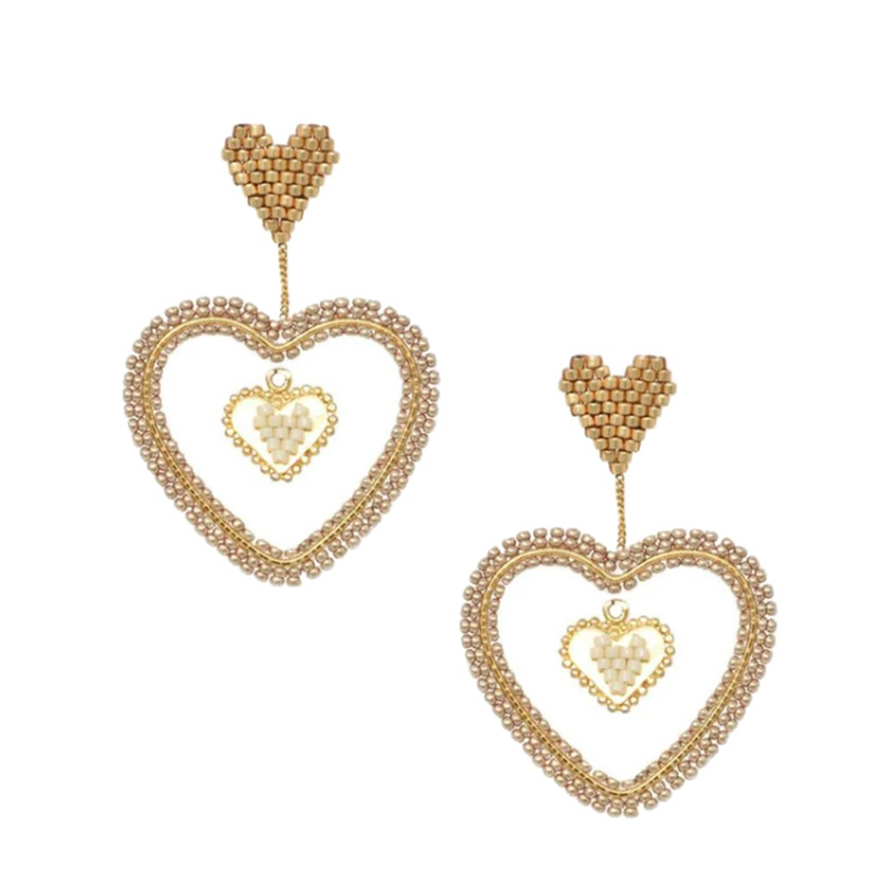 Sacred Heart Drop White Earrings - Gold