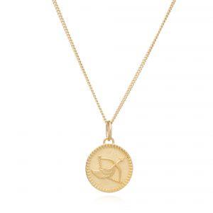 Zodiac Art Coin Short Necklace - GOLD