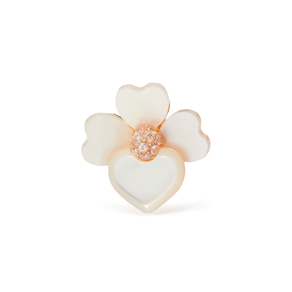 FLORAL STUDS - CREAM MULTI/ROSE GOLD