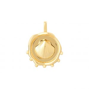 Coin Shell Necklace Charm - GOLD