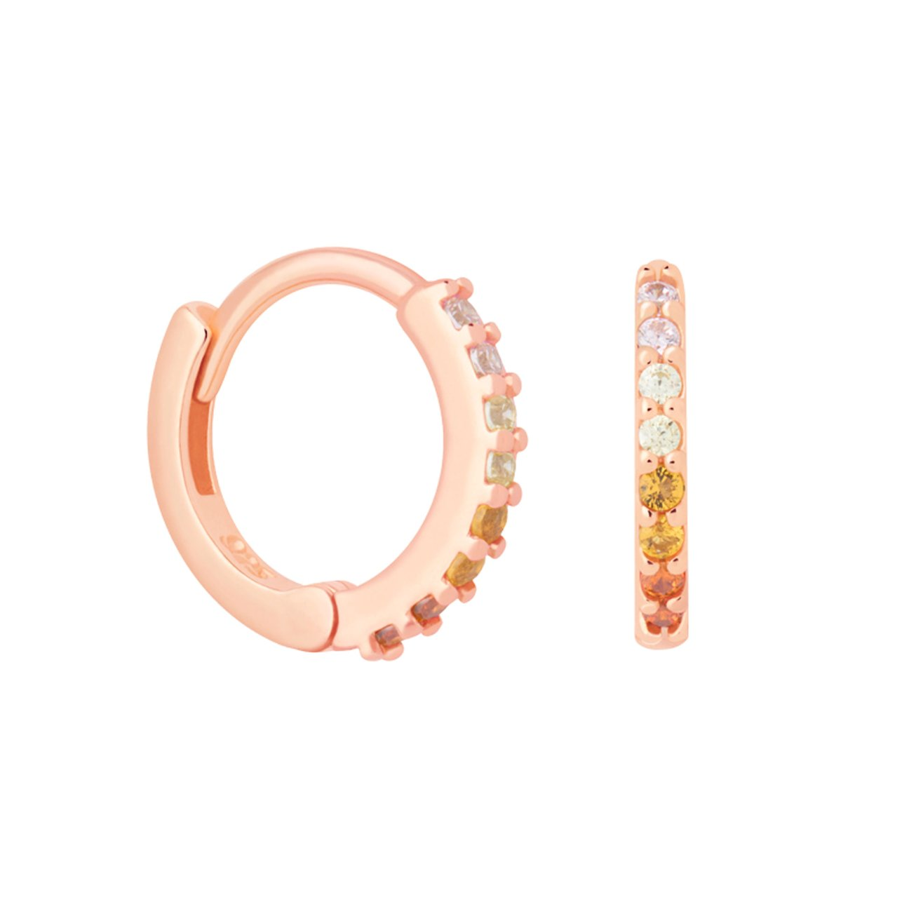 Light Rainbow Jewelled Huggie - ROSEGOLD