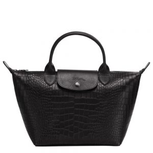 Top handle bag Le mini Pliage Cuir Croco - Black